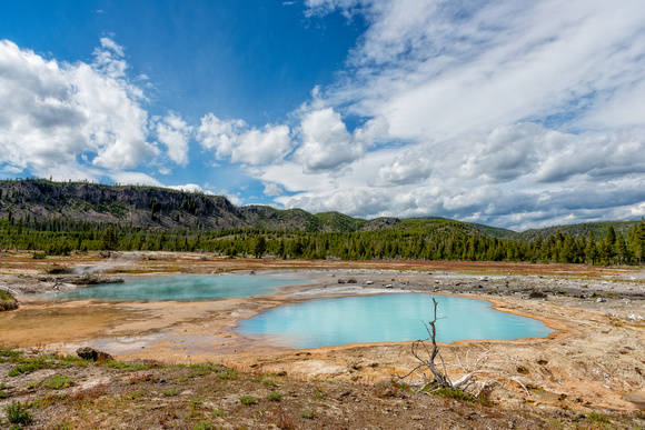 thermal pool, hot spring, landscape, yellowstone, national park