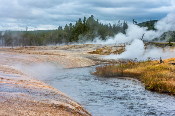fire hole, river, yellostone, national park, steam, geyser