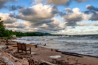 bench, south shore, lake superior, silver city, michigan, upper peninsula